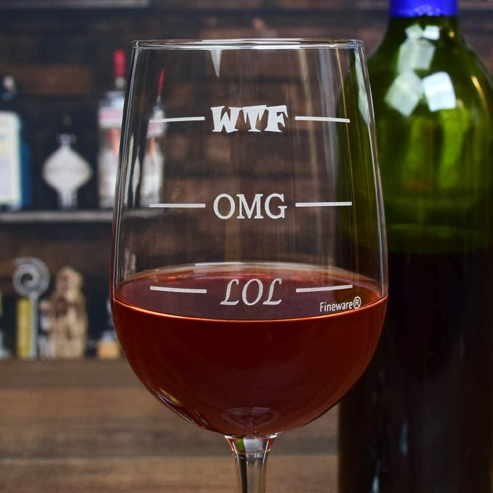 LOL OMG WTF Wine Glass