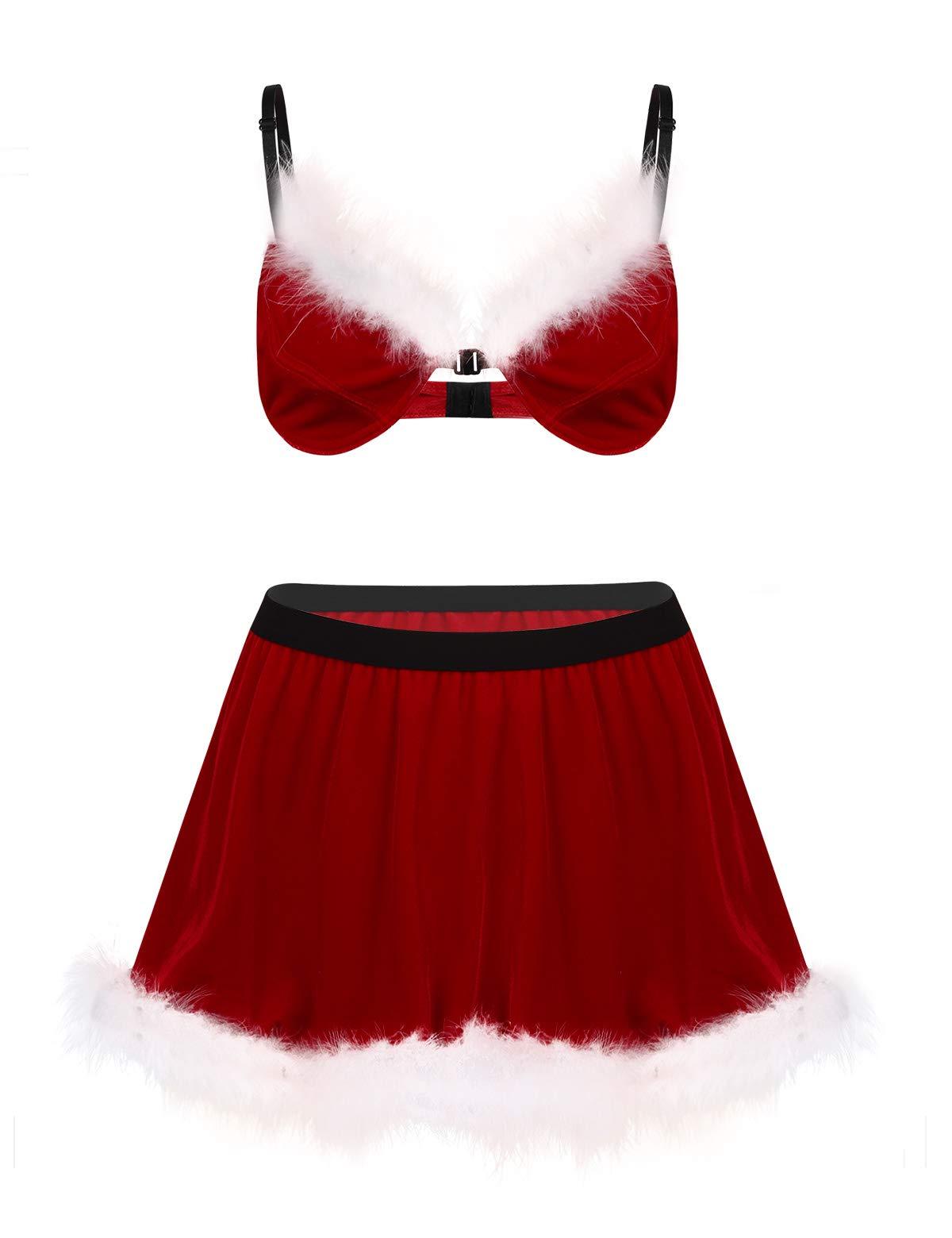 iEFiEL 2Pcs Velvet Feathered Sissy Sexy Christmas Santa Costume
