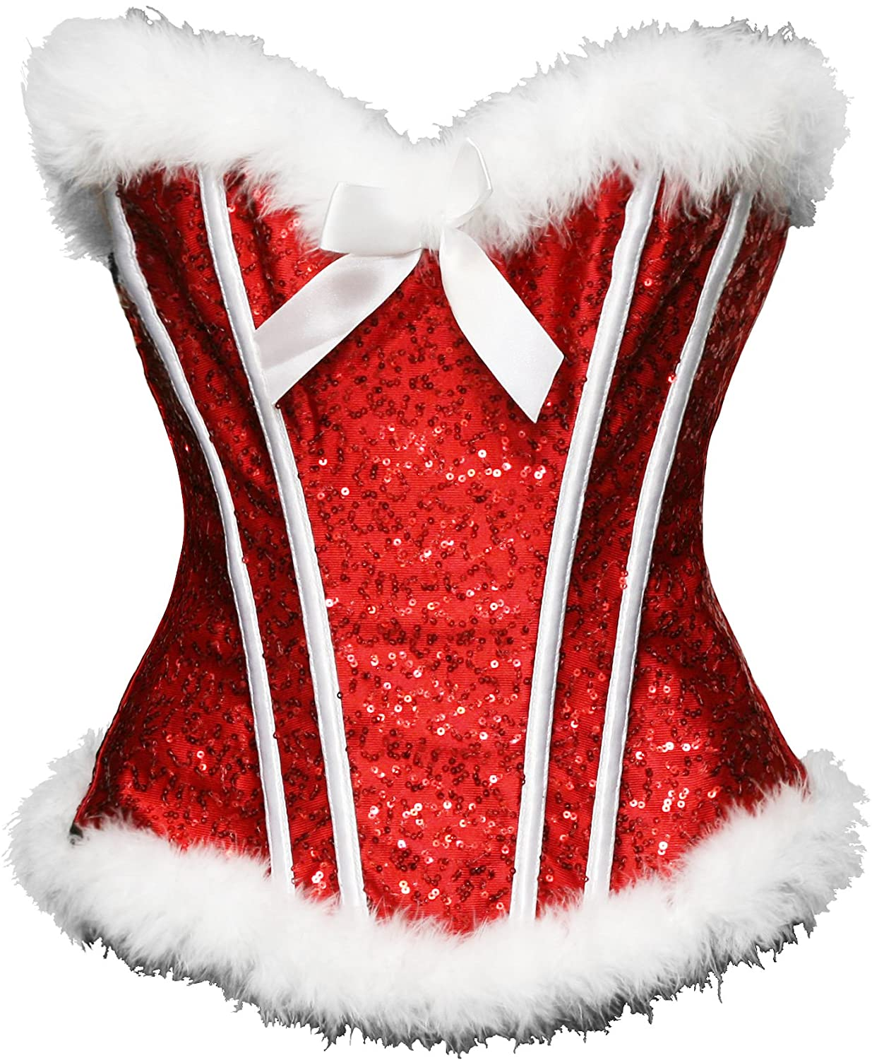 Bslingerie Sexy Christmas Mrs. Claus Costume Bustier Corset Top